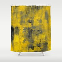 spice Shower Curtains featuring safron spice by patternization
