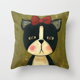 Portrait Of A Boston Terrier Dog Throw Pillow