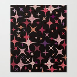 Shimmering Purple, Red, Pink and White Stars Canvas Print
