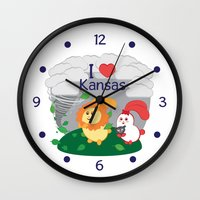 coraline Wall Clocks featuring Ernest and Coraline | I love Kansas by Hisame Artwork