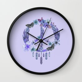 Purple Watercolor Peace Symbol Floral Dreamcatcher Wall Clock