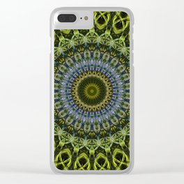 Olive and blue tones mandala Clear iPhone Case