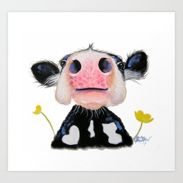 NOSEY FRIESIAN COW ' DAFFODIL ' BY SHIRLEY MACARTHUR Art Print