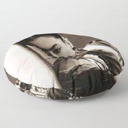 The Girl in the Blue House from Casa Azul Smoking black and white photographic print Floor Pillow