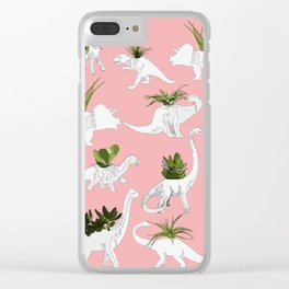 Dinosaurs & Succulents Clear iPhone Case