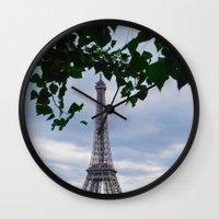 eiffel Wall Clocks featuring Eiffel by M. Gold Photography