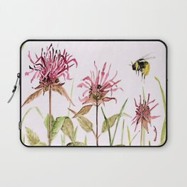 Flowers Bee Balm Pink Garden Wildflowers Nature Art Laptop Sleeve