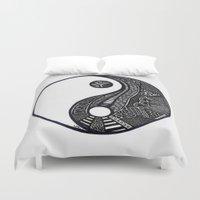 ying yang Duvet Covers featuring Ying & Yang by Lauren Moore