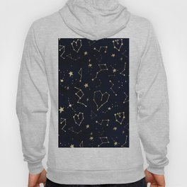 Modern gold constellation hearts stars space on navy blue watercolor Hoody