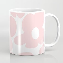 Large Baby Pink Retro Flowers on White Background #decor #society6 #buyart Coffee Mug