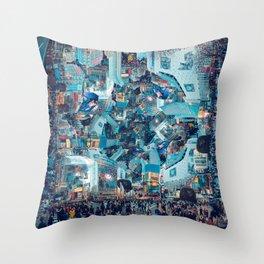 Shibuya Crossing, Repeating Mosaic Pattern 49 Throw Pillow