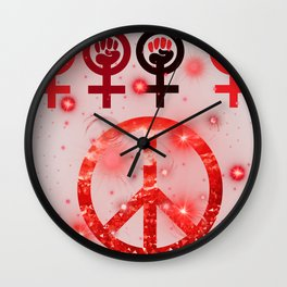Feminist and Peace Red Wall Clock