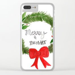 Merry Wreath Clear iPhone Case
