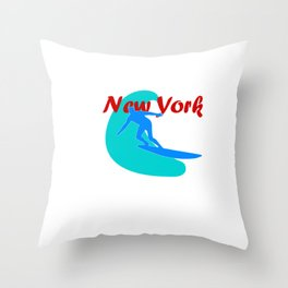 Surfer in New York Throw Pillow