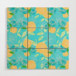 06 Yellow Blooms on Blue Wood Wall Art