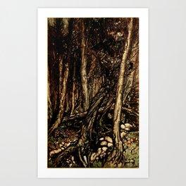 Arthur Rackham - Fouqué - Undine (1909) - A fearsome forest right perilous to traverse Art Print