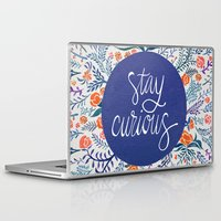 navy Laptop & iPad Skins featuring Stay Curious – Navy & Coral by Cat Coquillette