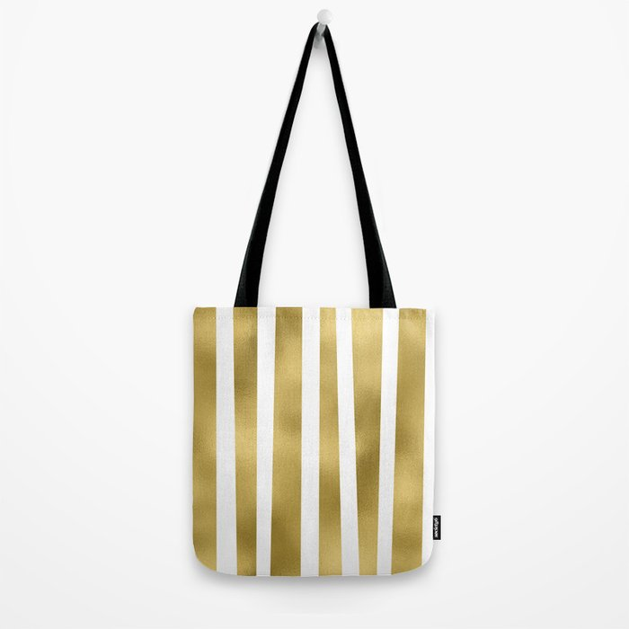 Gold unequal stripes on clear white - vertical pattern Tote Bag