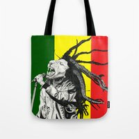 marley Tote Bags featuring Rastalion Marley by Paula Savage
