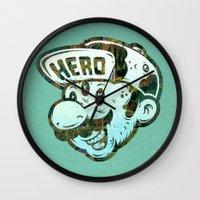 hero Wall Clocks featuring Hero by Beery Method