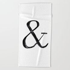 Ampersand watercolor Beach Towel