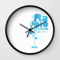 "radiohead Wall Clocks featuring Radiohead ""Last flowers"" Song / Blue version by LilaVert"