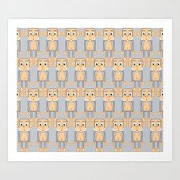 Super cute animals - Cheeky Grey Silver Monkey Art Print
