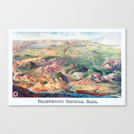YELLOWSTONE WYOMING IDAHO city old map Father Day art print poster Canvas Print