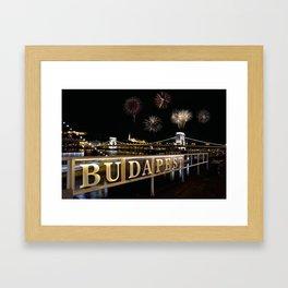 Chain bridge  with fireworks on Budapest city. Framed Art Print