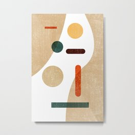 Minimal Abstract - Modern, Contemporary Print - Mid Century Abstract - Brown, White, burnt orange Metal Print