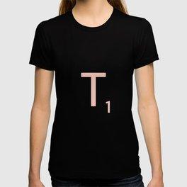 Pink Scrabble Letter T - Scrabble Tile Art and Accessories T-shirt