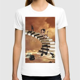 Cute little girl dancing on a piano T-shirt