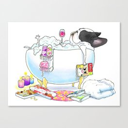 French Bulldog in the Tub - black and white pied Canvas Print