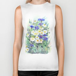 Watercolor chamomile and cornflowers Biker Tank