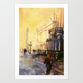 Lion of San Marco statue in Piazza di San Marco at dawn- Venice, Italy Art Print