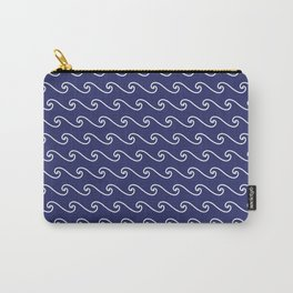 Wave Pattern | Navy Blue and White Carry-All Pouch