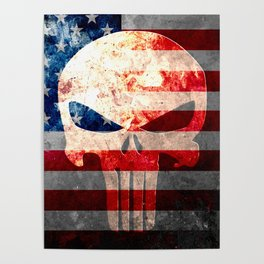 Punisher Themed Skull and American Flag on Distressed Metal Poster