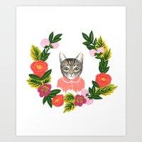 leah flores Art Prints featuring Scout con Flores by Leah Romero