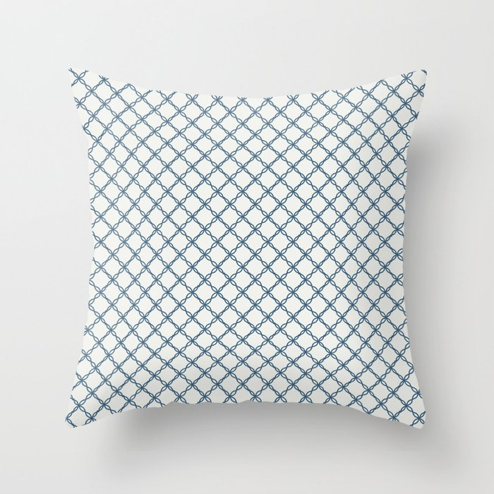 Blue Scroll Grid Pattern on Off White Pairs To 2020 Color of the Year Chinese Porcelain PPG1160-6 Throw Pillow