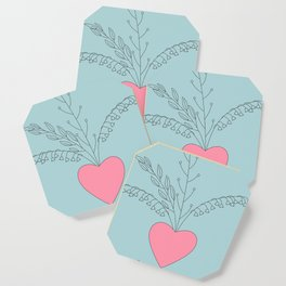 grey doodle pattern with hearts Coaster