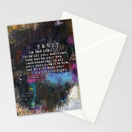 Proverbs 3:5-6  Christian Inspired Bible Verse Scripture Art by Michel Keck Stationery Cards