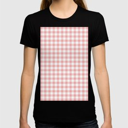 Lush Blush Pink and White Gingham Check T-shirt