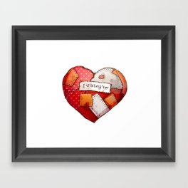 Heart with patches. Valentines day illustration. Framed Art Print