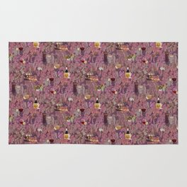 Wine and Cheese Pattern Print Rug