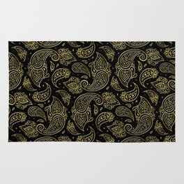 Golden Embossed Paisley pattern on black Rug