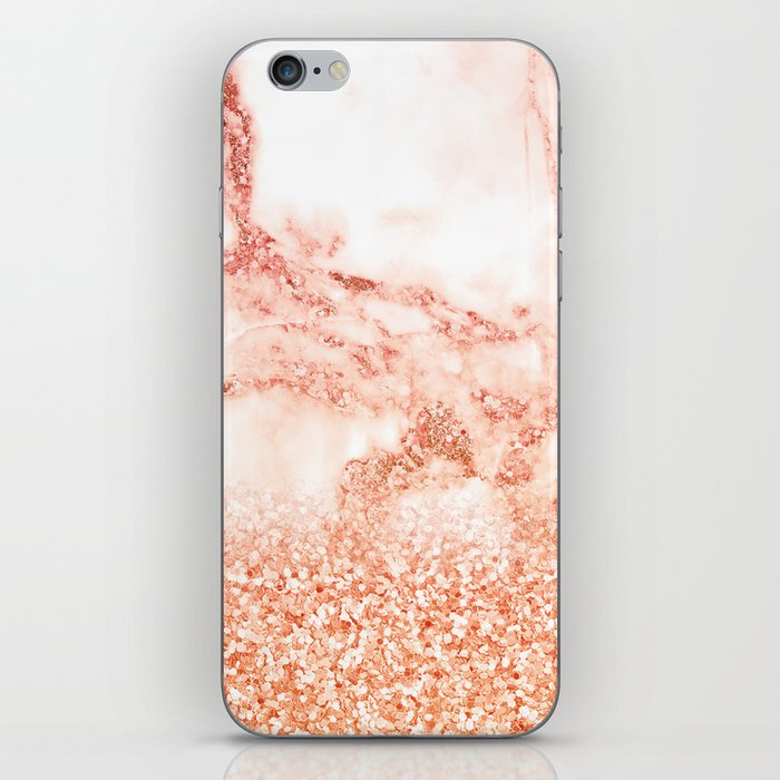 Sparkly Peach Copper Rose Gold Ombre Bohemian Marble iPhone Skin