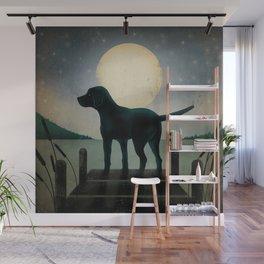 Black Dog Labrador Lake Dock Moon Cottage Cabin Wall Mural