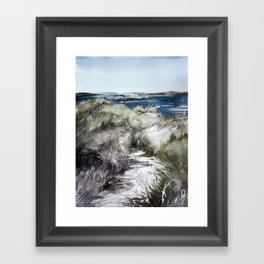 Cold seashore grass Framed Art Print