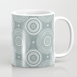boho sun and stars - white on restoration green Coffee Mug