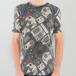 Video Game Controllers in True Colors All Over Graphic Tee